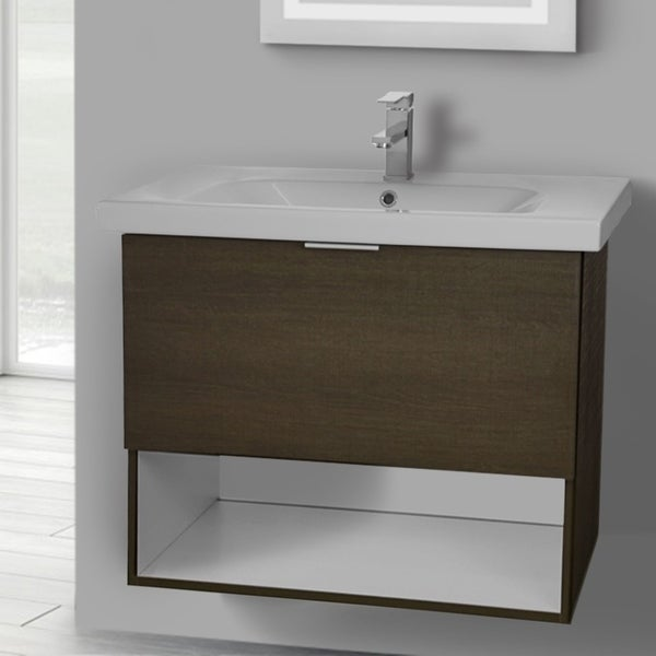 ARCOM OP03 Wall Mounted 32 Inch Grey Oak Vanity Cabinet With Fitted Sink
