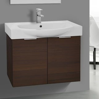 Arcom KAL04 Larch Brown Wood/Ceramic 28-inch Wall-mounted Vanity Cabinet and Fitted Sink