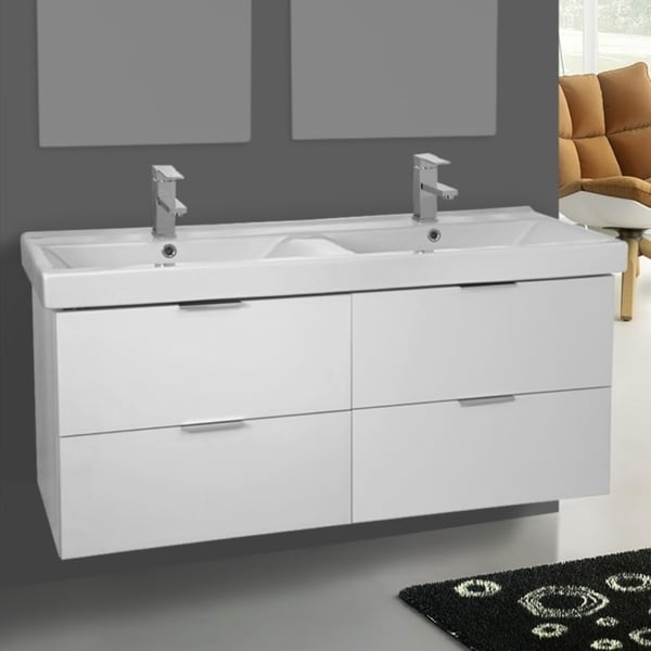 Shop ARCOM DF02 Wall Mounted 47 Inch Ash White Vanity ...