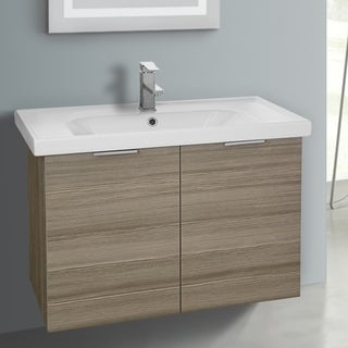 ARCOM LAM04 Wall Mounted 31 Inch Larch Canapa Vanity Cabinet With Fitted Sink