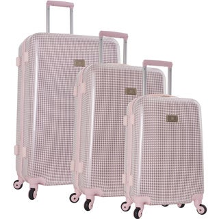 Anne Klein Manchester Blush/Silver Houndstooth 3-piece Hardside Spinner Luggage Set