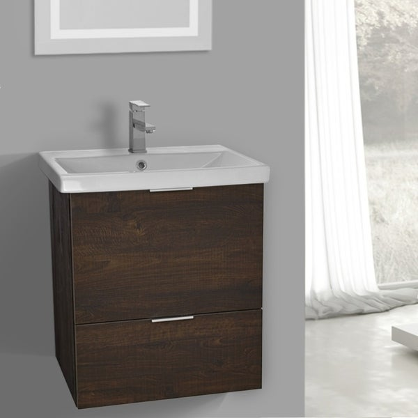 ARCOM ME01 Wall Mounted 24 Inch Sherwood Burn Vanity Cabinet With Fitted Sink