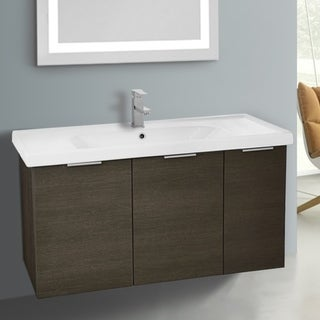 ARCOM LAM03 Wall Mounted 39 Inch Grey Oak Vanity Cabinet With Fitted Sink