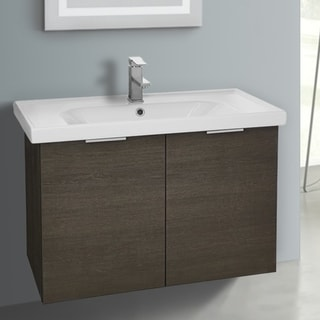 ARCOM LAM06 Wall Mounted 31 Inch Grey Oak Vanity Cabinet With Fitted Sink