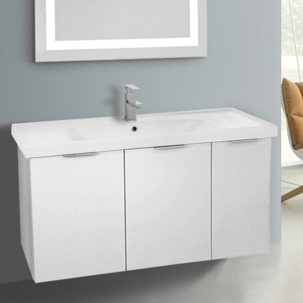 ARCOM LAM02 Wall Mounted 39 Inch Larch White Vanity Cabinet With Fitted Sink