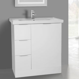 ARCOM WA03 Free Standing 31 Inch Glossy White Vanity Cabinet With Fitted Sink