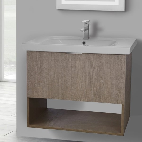 ARCOM OP01 Wall Mounted 32 Inch Canapa Tranche Oak Vanity Cabinet With Fitted Sink