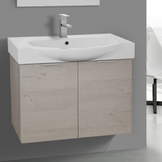 ARCOM KAL08 Wall Mounted 28 Inch Natural Vanity Cabinet With Fitted Sink
