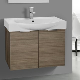 ARCOM KAL03 Wall Mounted 28 Inch Larch Canapa Vanity Cabinet With Fitted Sink