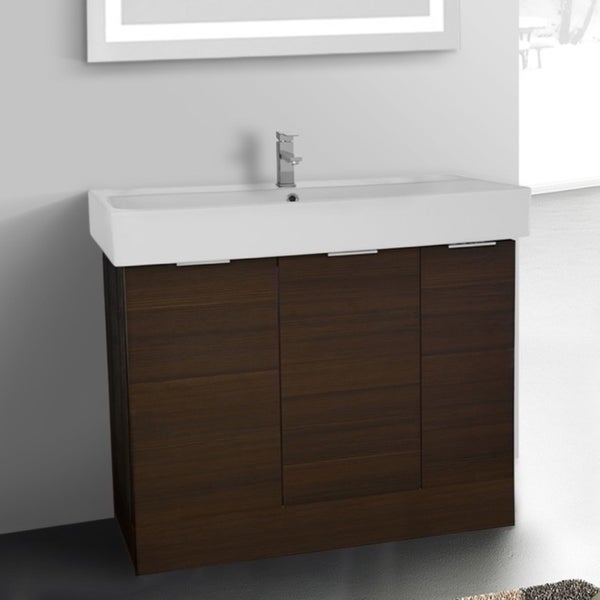ARCOM O4O01 Free Standing 40 Inch Larch Brown Vanity Cabinet With Fitted Sink