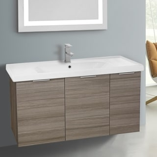ARCOM LAM01 Wall Mounted 39 Inch Larch Canapa Vanity Cabinet With Fitted Sink