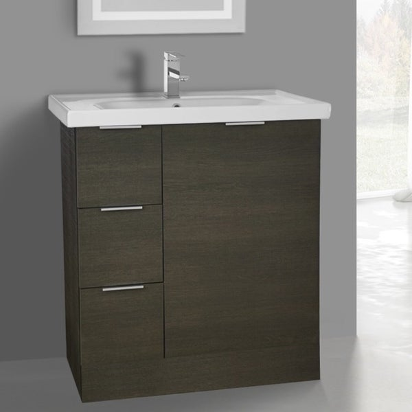 ARCOM WA01 Free Standing 31 Inch Grey Oak Vanity Cabinet With Fitted Sink