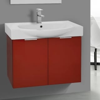 ARCOM KAL05 Wall Mounted 28 Inch Glossy Red Vanity Cabinet With Fitted Sink