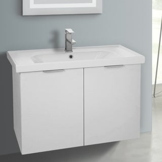 ARCOM LAM05 Wall Mounted 31 Inch Larch White Vanity Cabinet With Fitted Sink