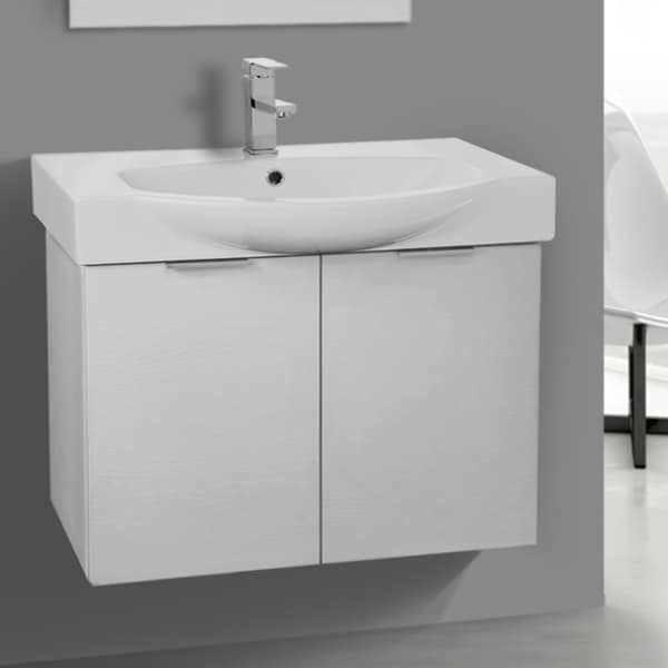 ARCOM KAL06 Wall Mounted 28 Inch Sherwood White Vanity Cabinet With Fitted Sink