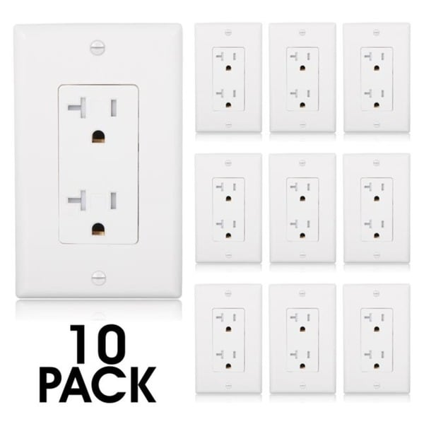 Maxxima Tamper Resistant Duplex Receptacle Wall Outlet 20A White, Wall Plates Included (Pack of 10) - White