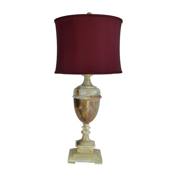"32"" Tall Marble Table Lamp ""Sabrina"" with Chartreuse finish, Cherry Linen Shade"