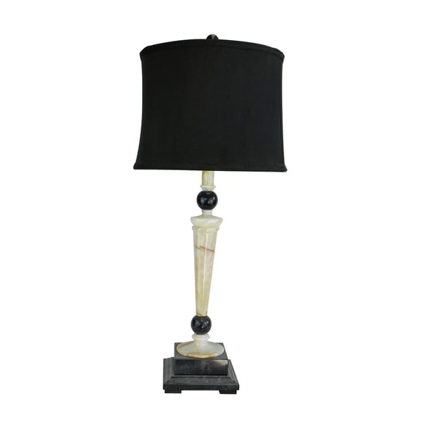 "32.5"" Tall Marble Table Lamp ""Redux"" with Cream Onyx and Black finish, Black Linen Shade"
