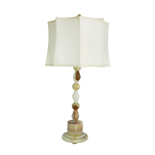"""31.5"""" Tall Onyx Table Lamp """"Messier"""" with Chartreuse finish, White Linen Shade"""