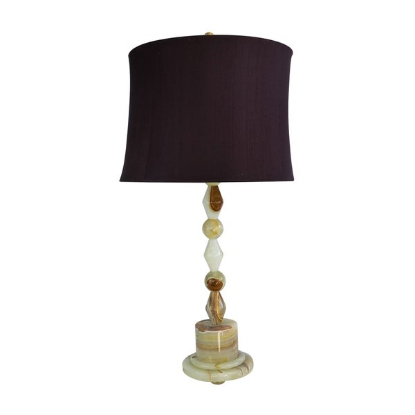 """31.5"""" Tall Onyx Table Lamp """"Messier"""" with Chartreuse finish, Burgundy Linen Shade"""