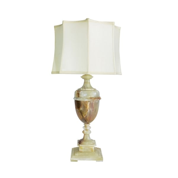 """32"""" Tall Marble Table Lamp """"Sabrina"""" with Chartreuse finish, White Linen Shade"""