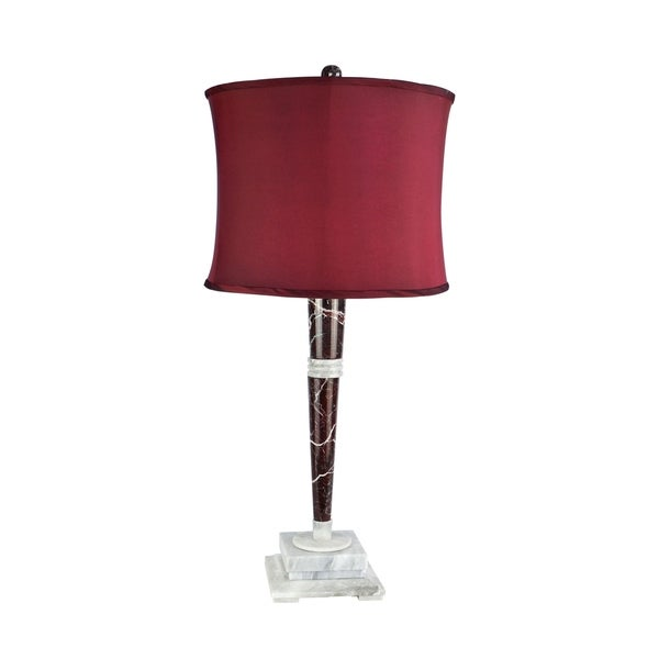 "32"" Tall Marble Table Lamp ""Mercury"" with Cherry Linen Shade, Red Zebra and Alabaster"