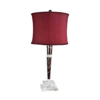 """32"""" Tall Marble Table Lamp """"Mercury"""" with Cherry Linen Shade, Red Zebra and Alabaster"""