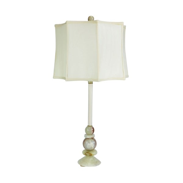 "30"" Tall Marble Table Buffet Lamp ""Solstice Summer"" with Chartreuse finish, White Linen Shade"