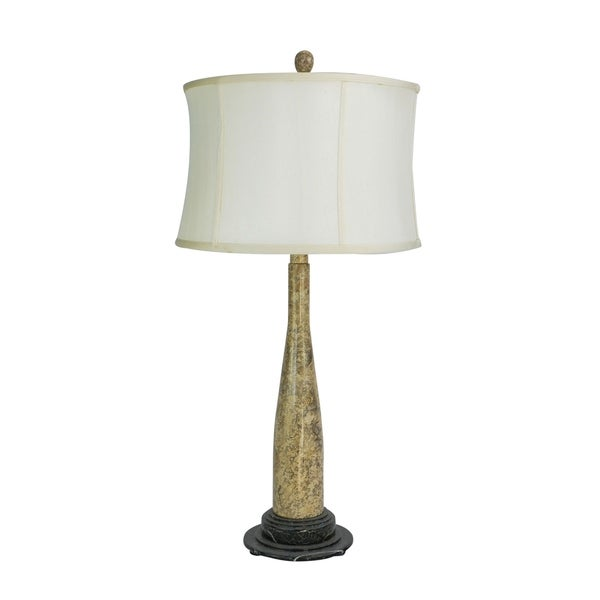 "32"" Tall Marble Table Lamp ""Artica"" with White Linen Shade, Fossil"