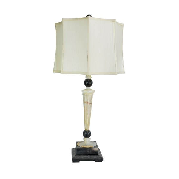 """32.5"""" Tall Marble Table Lamp """"Redux"""" with Cream Onyx and Black finish, White Linen Shade"""