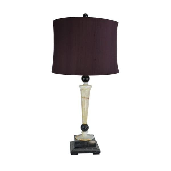 "32.5"" Tall Marble Table Lamp ""Redux"" with Cream Onyx and Black finish, Burgundy Linen Shade"