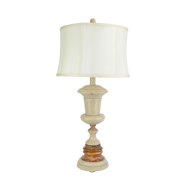 "32"" Tall Marble Table Lamp ""Adeona"" with Desert Sand and Amber finish, White Linen Shade"