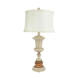 """32"""" Tall Marble Table Lamp """"Adeona"""" with Desert Sand and Amber finish, White Linen Shade"""