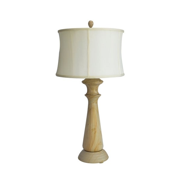 "32"" Tall Marble Table Lamp ""Tolesto"" with Beige finish, White Linen Shade"