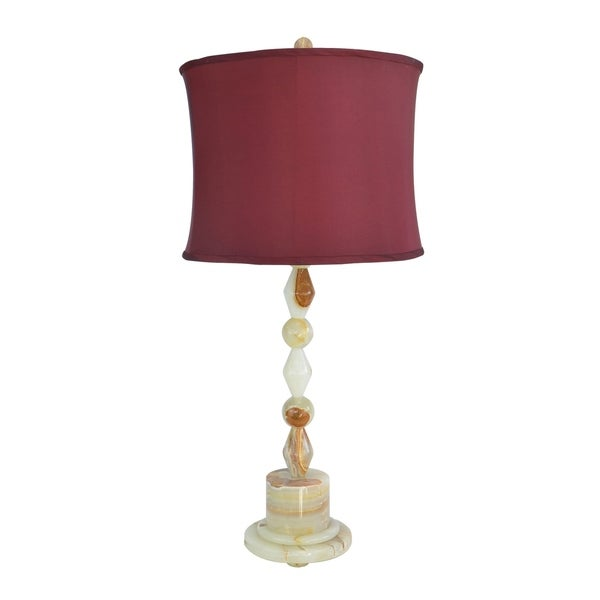 """31.5"""" Tall Onyx Table Lamp """"Messier"""" with Chartreuse finish, Cherry Linen Shade"""