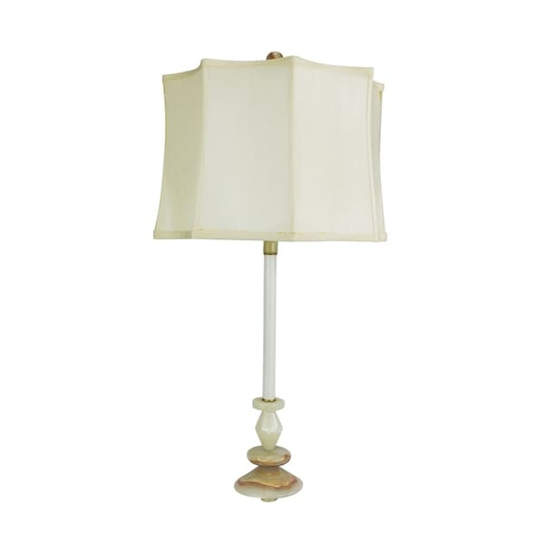 "30"" Tall Marble Table Buffet Lamp ""Solstice Winter"" with Chartreuse finish, White Linen Shade"