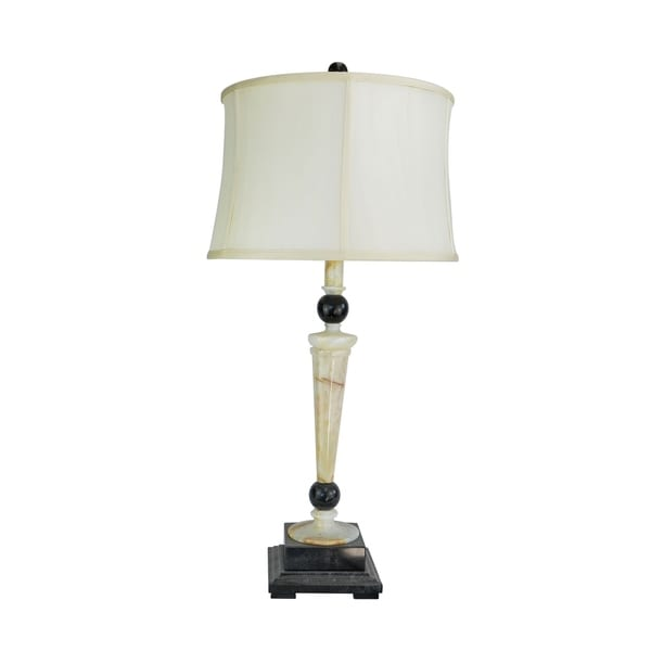 "32.5"" Tall Marble Table Lamp ""Redux"" with Cream Onyx and Black finish, White Linen Shade"