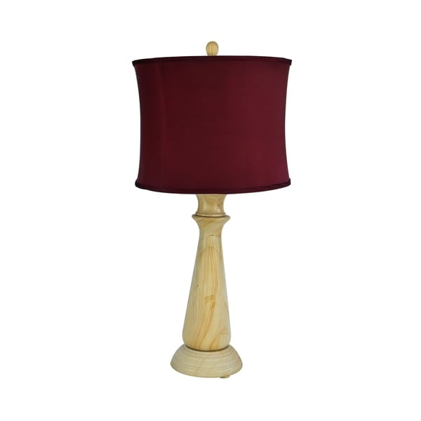 "32"" Tall Marble Table Lamp ""Tolesto"" with Beige finish, Cherry Linen Shade"
