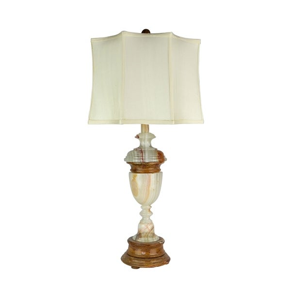 "32.5"" Tall Marble Table Lamp ""Sirenium Terra"" with Genuine Onyx finish, White Linen Shade"