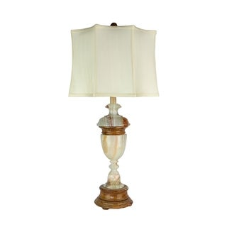 """32.5"""" Tall Marble Table Lamp """"Sirenium Terra"""" with Genuine Onyx finish, White Linen Shade"""