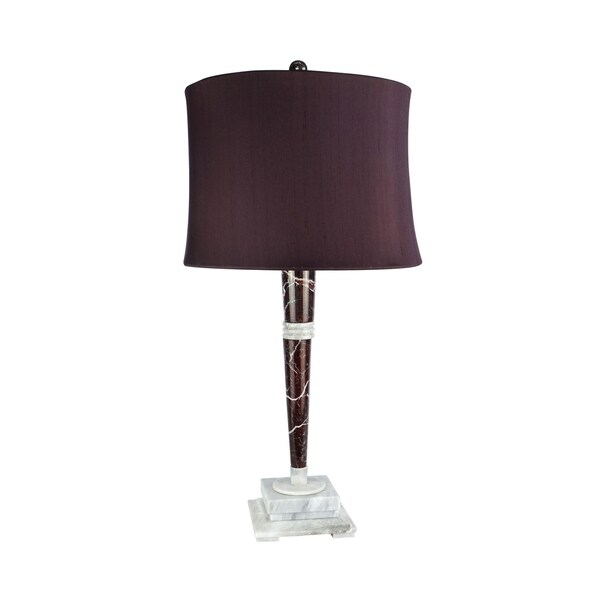 "32"" Tall Marble Table Lamp ""Mercury"" with Burgundy Linen Shade, Red Zebra and Alabaster"