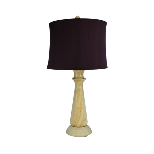 "32"" Tall Marble Table Lamp ""Tolesto"" with Beige finish, Burgundy Linen Shade"