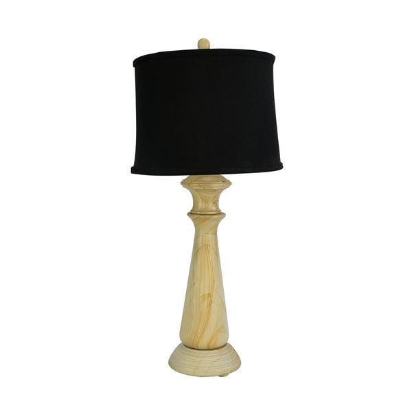"32"" Tall Marble Table Lamp ""Tolesto"" with Beige finish, Black Linen Shade"