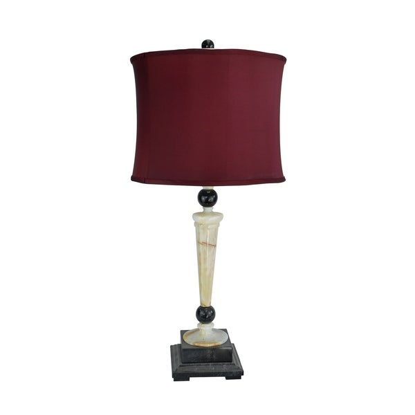 """32.5"""" Tall Marble Table Lamp """"Redux"""" with Cream Onyx and Black finish, Cherry Linen Shade"""