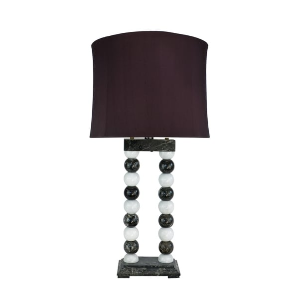 "29"" Tall Marble Table Lamp ""Marvin"" with Taupe Gray & Espresso finish, Burgundy Linen Shade"