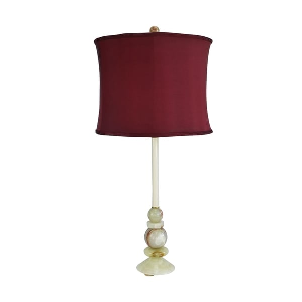 "30"" Tall Marble Table Buffet Lamp ""Solstice Summer"" with Chartreuse finish, Cherry Linen Shade"