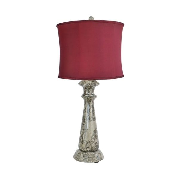 "32"" Tall Marble Table Lamp ""Lummelunda"" with Taupe Gray finish, Cherry Linen Shade"