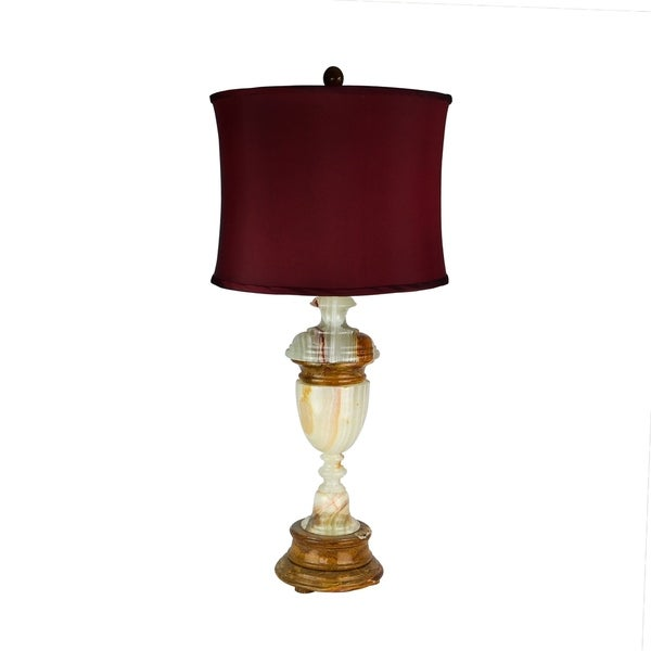 "32.5"" Tall Marble Table Lamp ""Sirenium Terra"" with Genuine Onyx finish, Cherry Linen Shade"