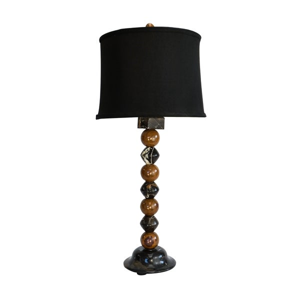 "32.5"" Tall Marble Table Lamp ""Sirenium Terra"" with Black and Amber finish, Black Linen Shade"