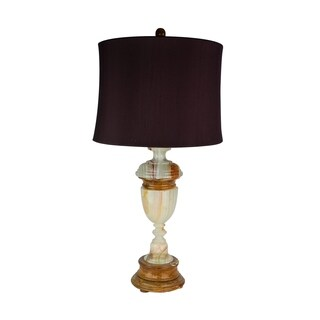 "32.5"" Tall Marble Table Lamp ""Sirenium Terra"" with Genuine Onyx finish, Burgundy Linen Shade"